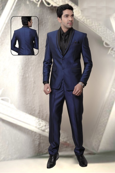 Royal Blue & Black Fashion Wedding Reception Suit