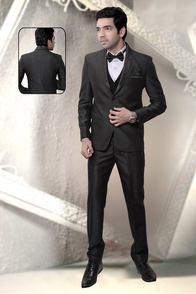 Black Color Slim Notch Lapel Wedding Reception Suit
