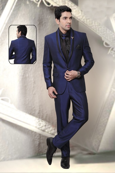 Blue & Black Fashion Beautiful Wedding Reception Suit