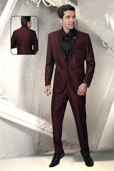 Maroon & Black Combination Wedding Reception Suit