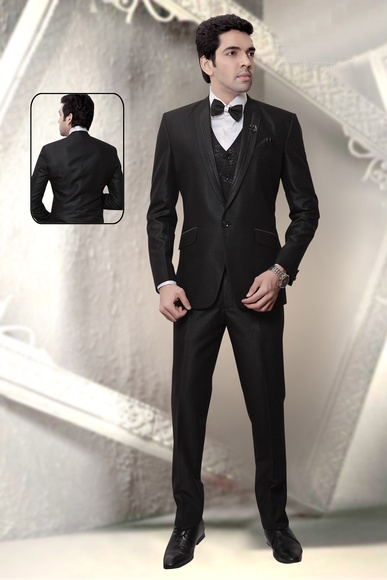 Black Broad Peak Lapel Wedding Reception Tuxedo