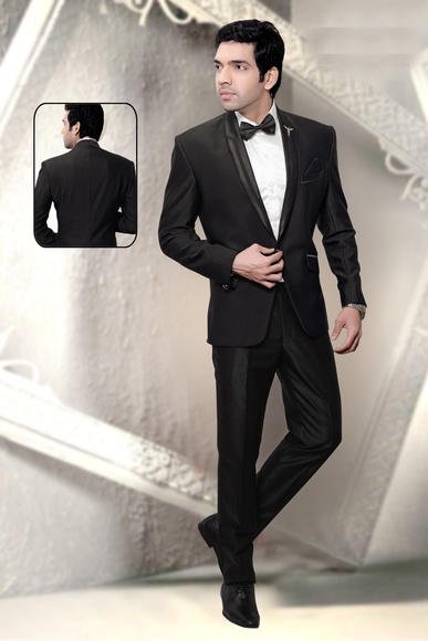 Black Slim Lapel Wedding Reception Tuxedo