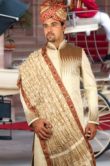 Blonde Cream Regal Sherwani BL2032