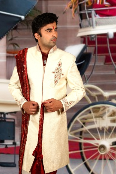 Exquisite Cream Sherwani BL2036