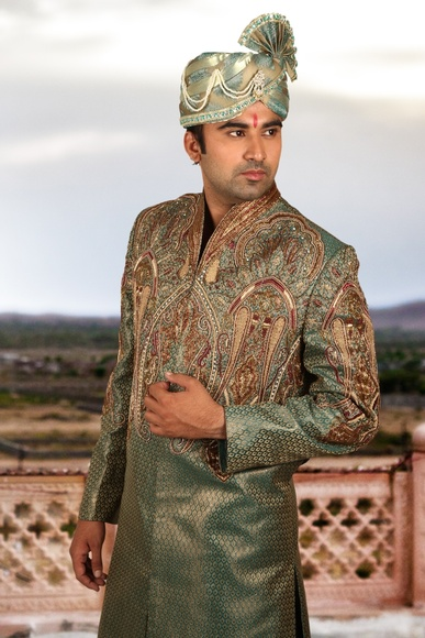 Fancy Emerald Green Sherwani BL2038
