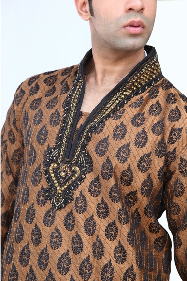 Highneck Brown Semi Sherwani BL4002