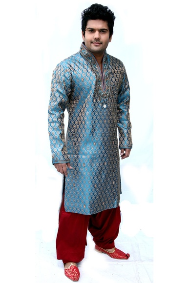 Magnificent Blue Semi Sherwani BL4007