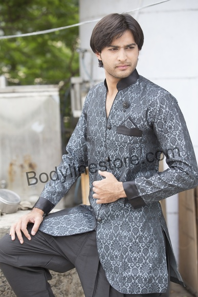 Grey Semi Sherwani BL1058