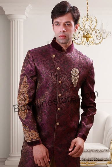 Purple Semi Sherwani BL1072