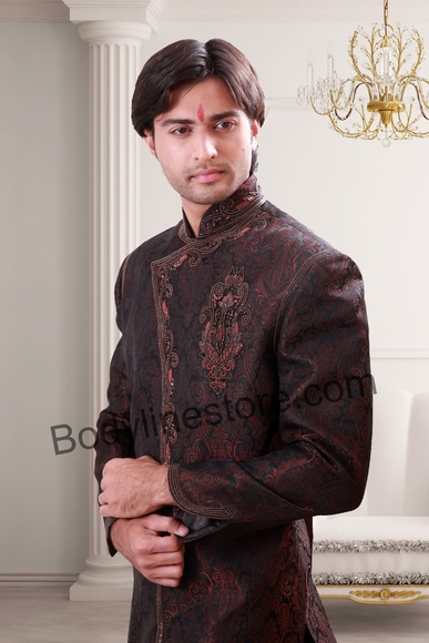 Dark Brown Indo Western Sherwani BL1073