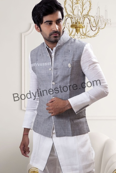 White Pathani Suit With Jacket BL4042