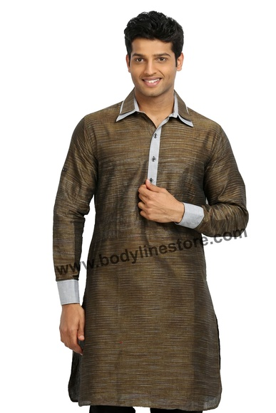 Cotton Linen Pathani Kurta RK4098