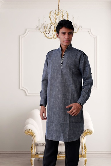 Modern Grey Pathani Suit BL4016
