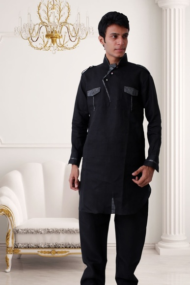 Splendid Black Pathani Suit BL4017