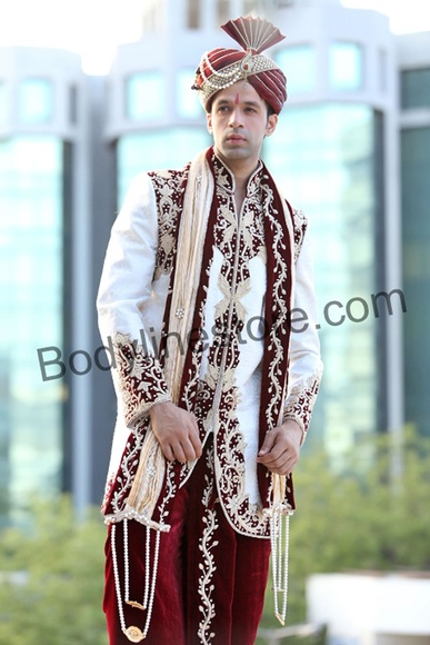 White Dhoti Sherwani BL2055