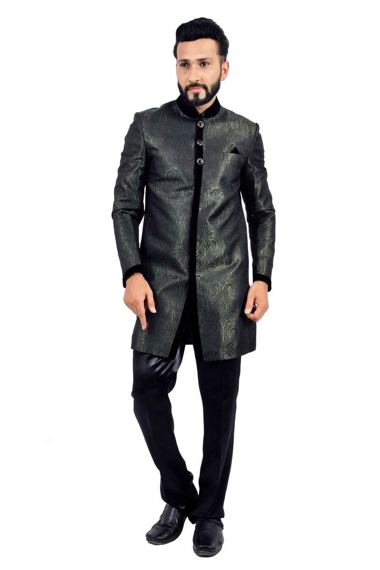 Darkgreen &  Black  Indowestern Sherwani  RK1126