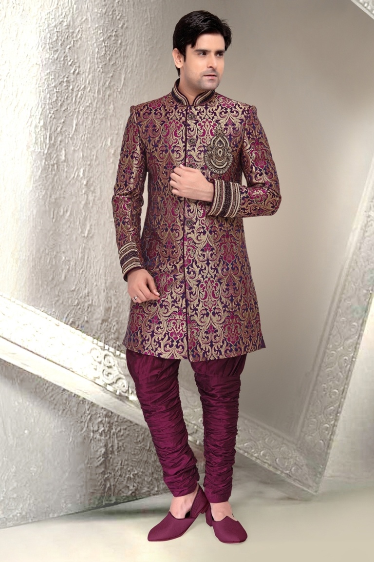Blue Color Distinctive Look Indo Western Sherwani