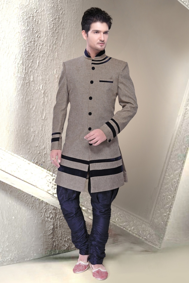 Fabulous Grey Color Indo Western Sherwani