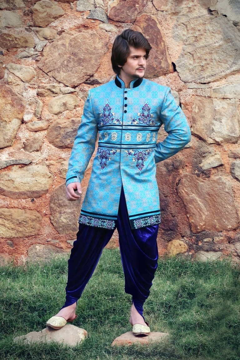 Luscious Blue Color Indo Western Sherwani