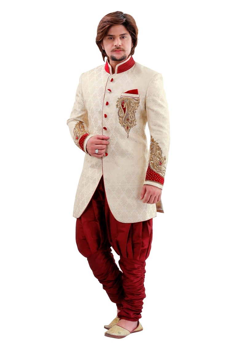 Astonishing Cream Color Indo Western Sherwani