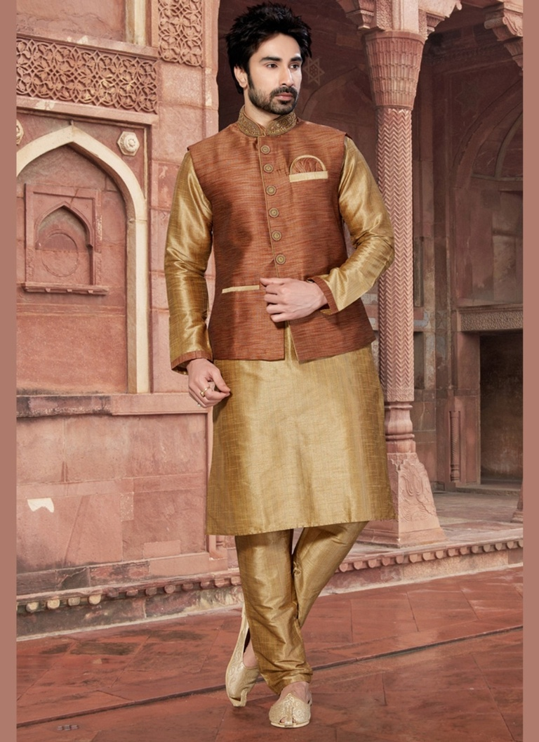 Brown Color Raw Silk Indo Western Sherwani