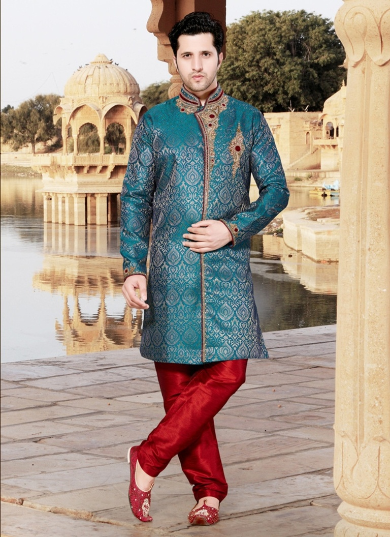 Teal Green Color Indo Western Sherwani
