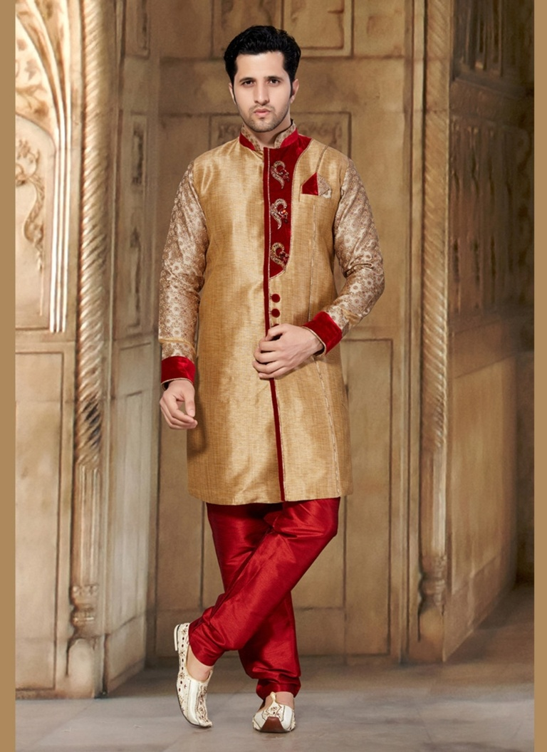 Dazzing Brown Color Indo Western Sherwani