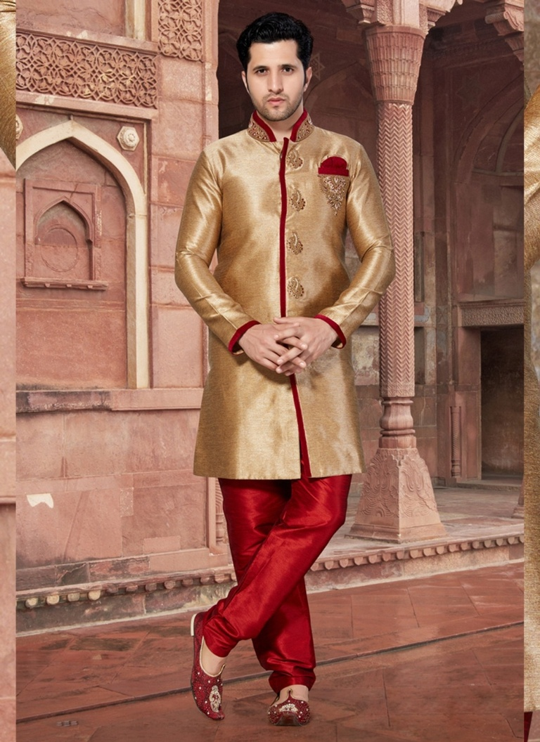 Complete Ethnic Look Brown Color Indo Western Sherwani