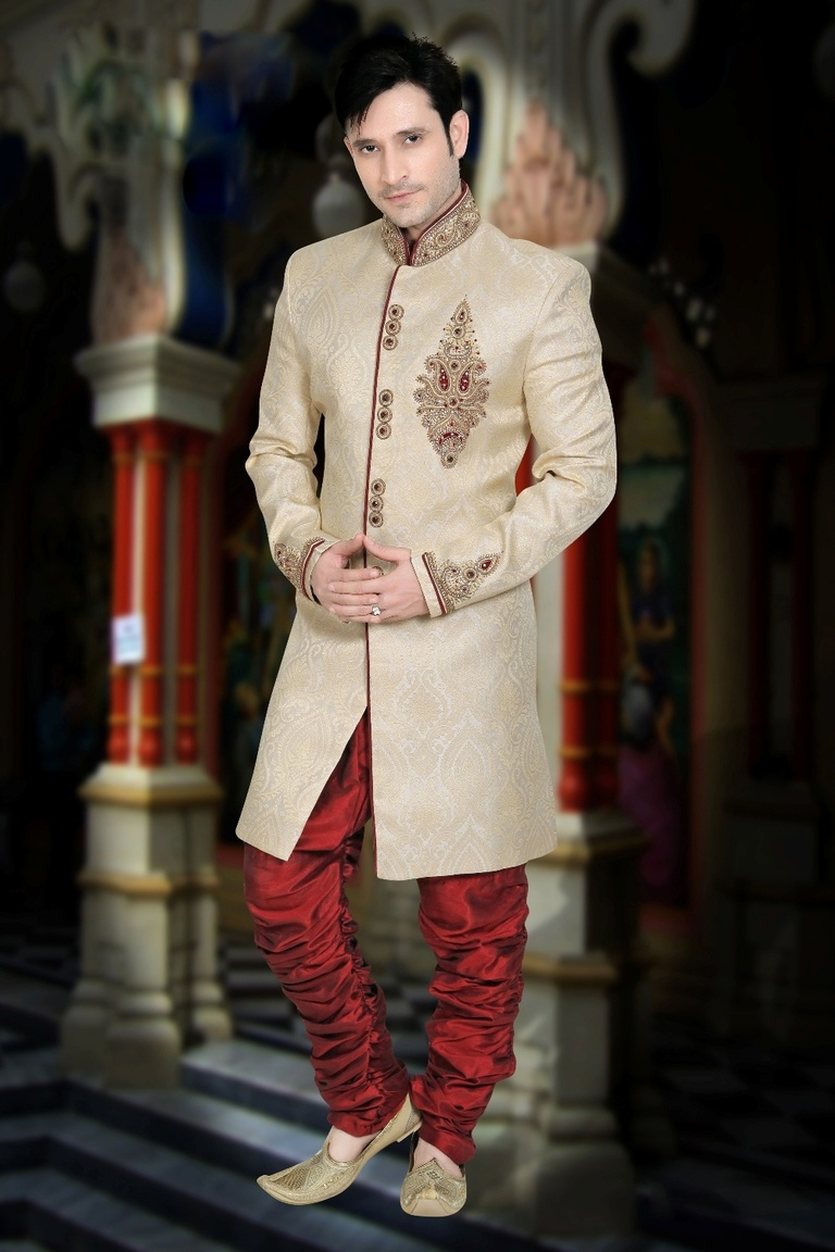 Attractive Look Beige Color Indo Western Sherwani
