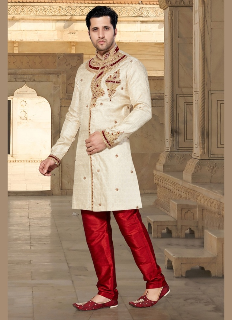 Princely Cream Color Indo Western Sherwani