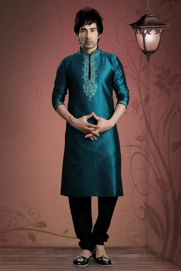 Blue Color Pattern Kurta Payjama