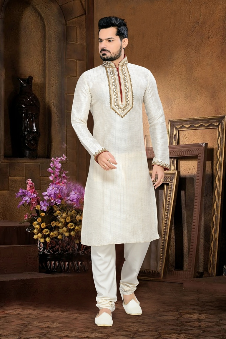 White Color Delightful Kurta Payjama