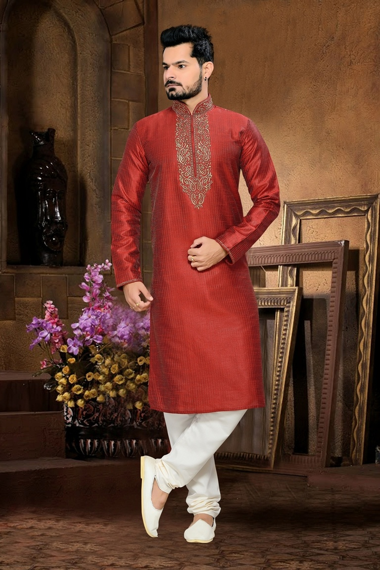 Elegant Red Color Kurta Payjama