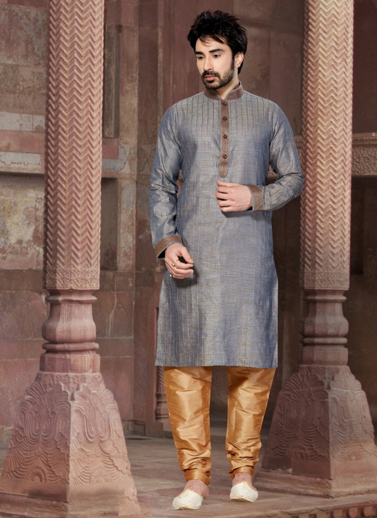 Superlative Grey Color  Kurta Payjama