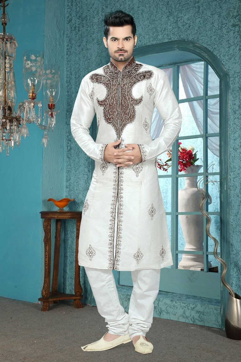 Bodylinestore | Products | wedding kurta | White Color Unique Royal ...