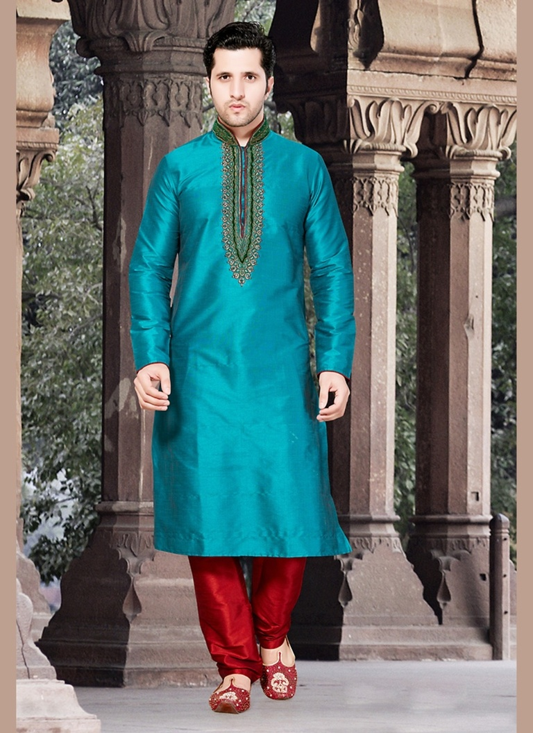 Blue Color Royal Wedding Kurta Payjama