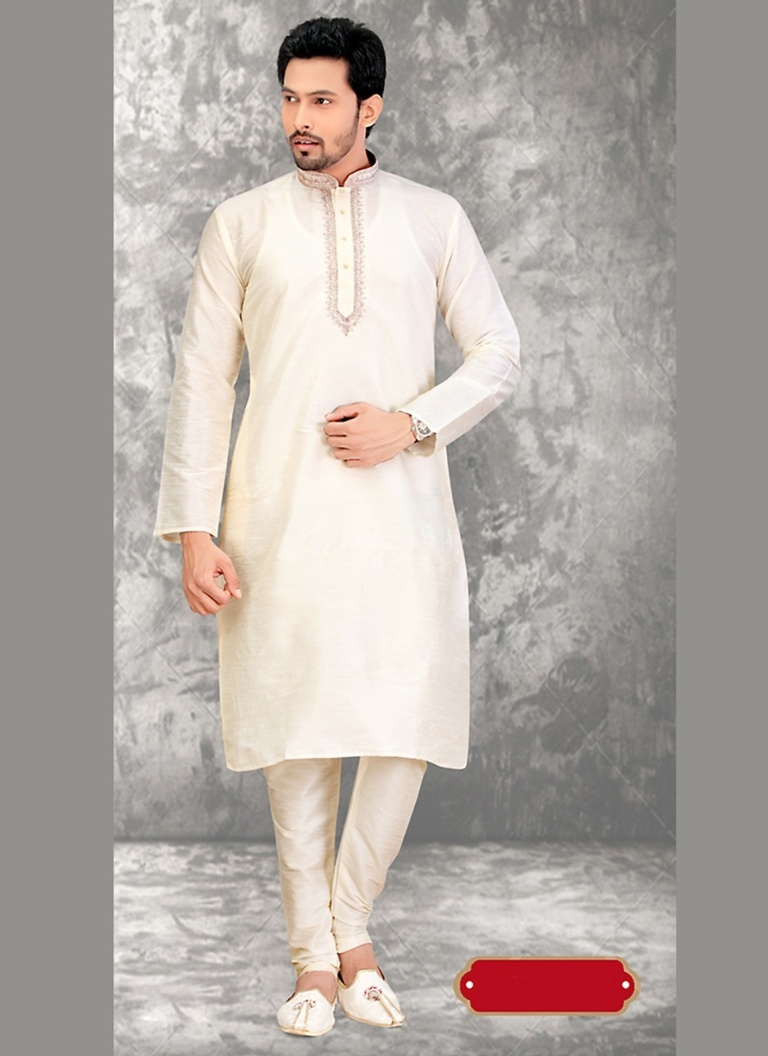 Cream Color Heavy look Kurta Payjama