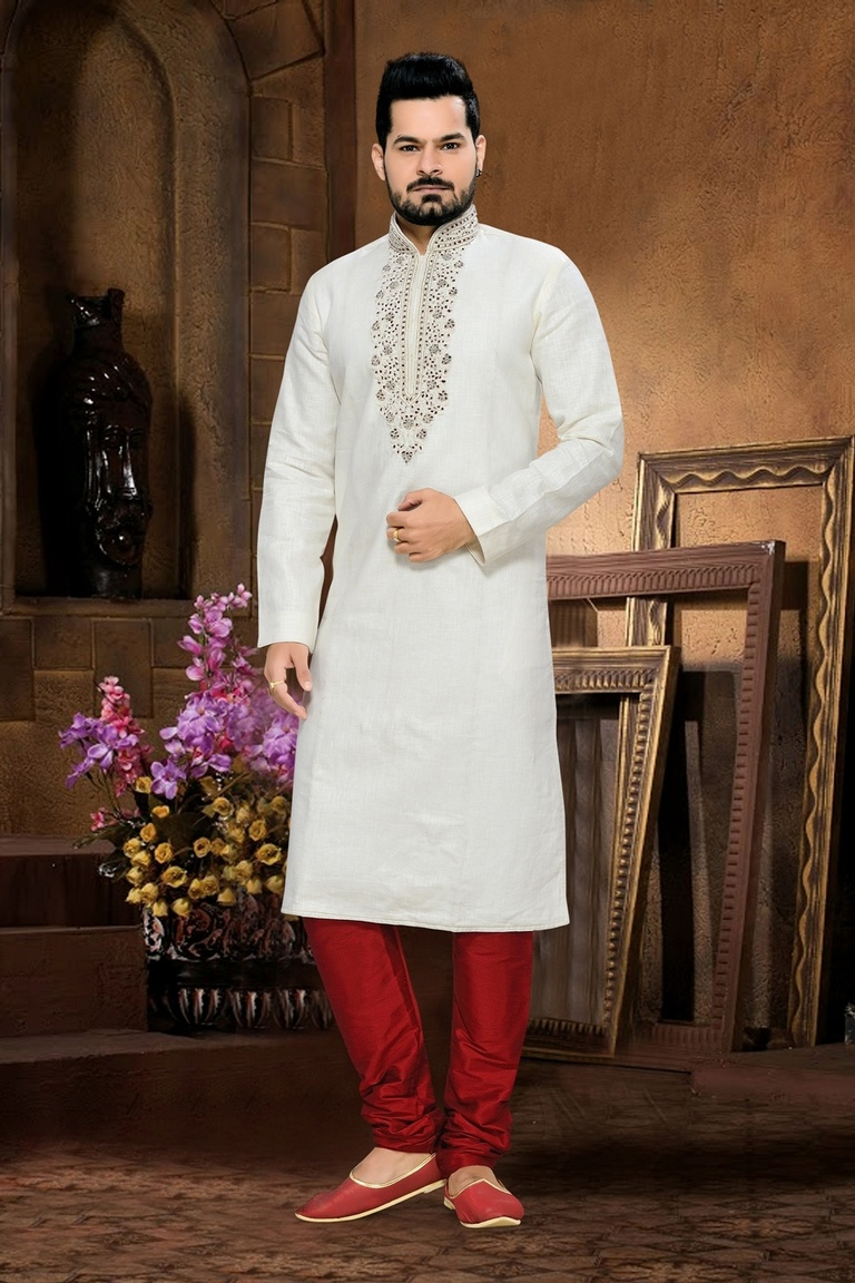 White Color Designer Kurta Payjama