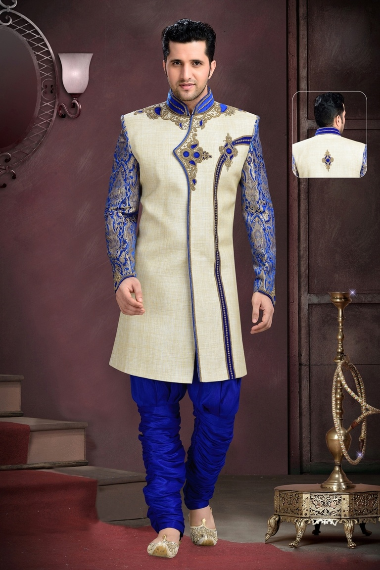 Enanece Your Lookblue Cream Royal Sherwani