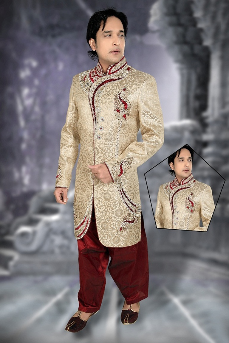 Mens Smashing Brown Color Royal Sherwani