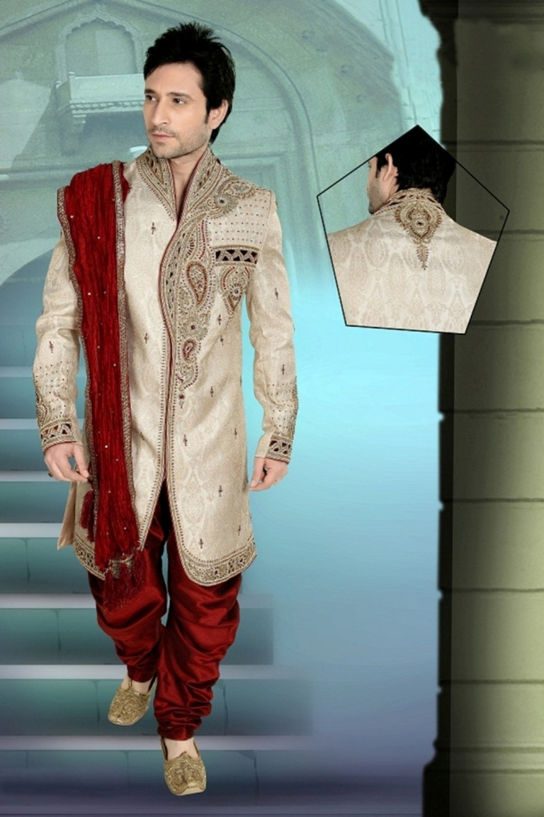 Pin Tuck Charm Cream Color Mens V Neck Royal Sherwani