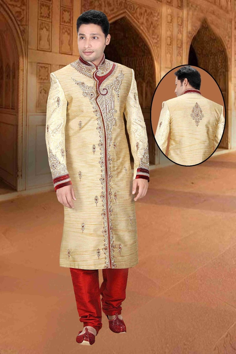 Living In Style Cream Color Mens Royal Sherwani For Wedding