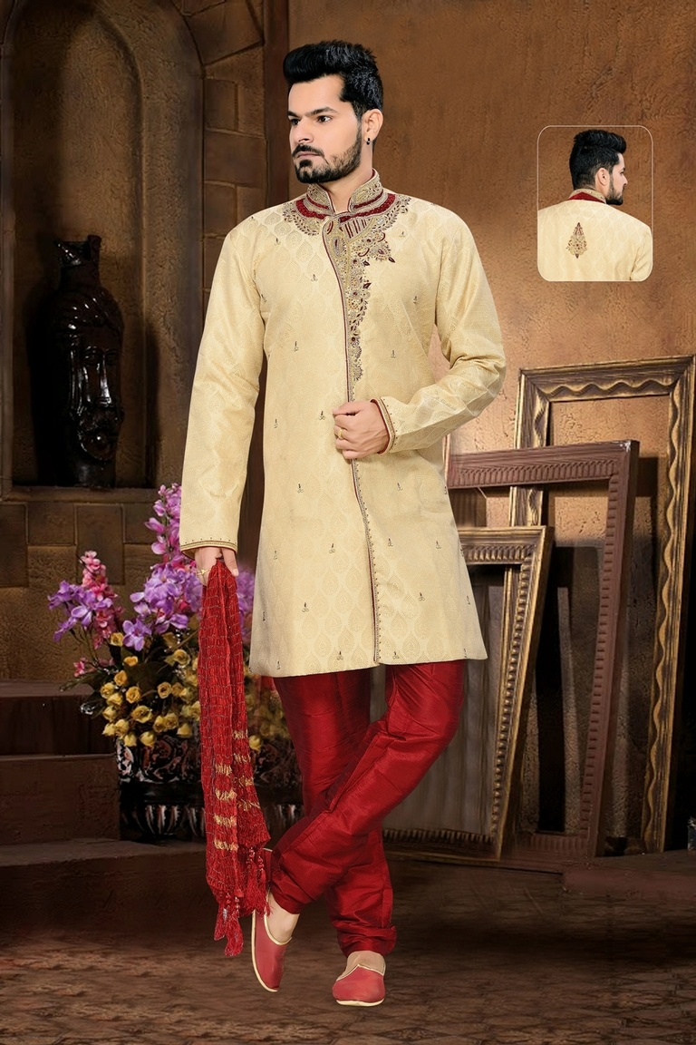 Antique Collection Creamroyal Sherwani For Men