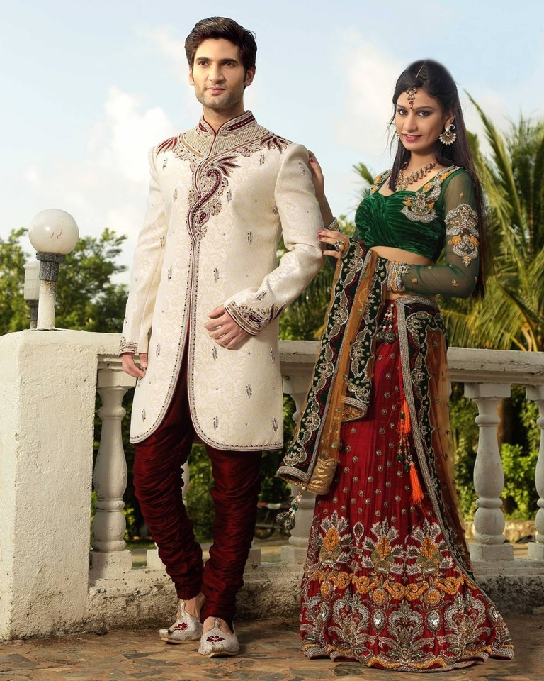 Ethnic Look Mens Cream Color Royal Sherwani