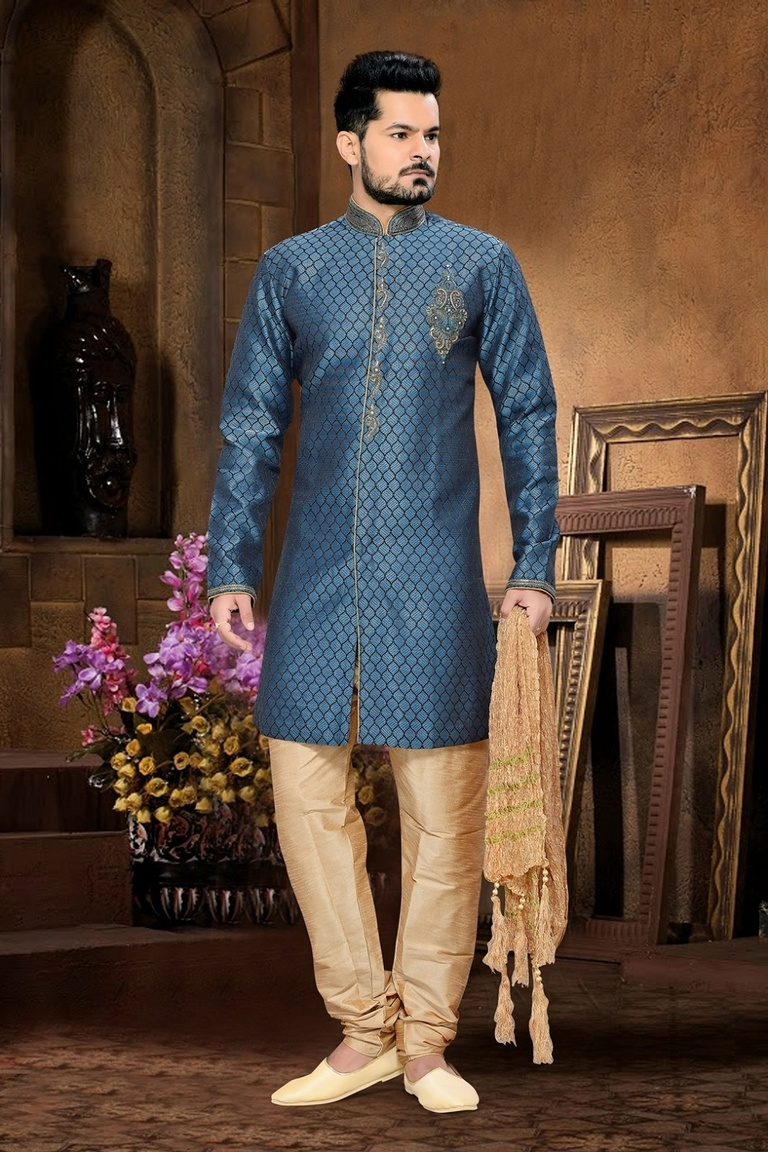 Designer Royal Rich Blue Color Royal Sherwani