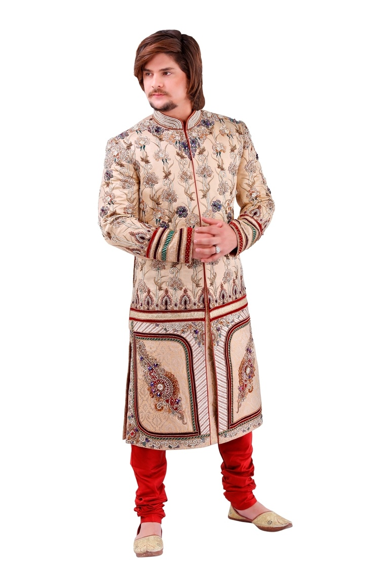Carnelian Beige Color Mens Royal Sherwani