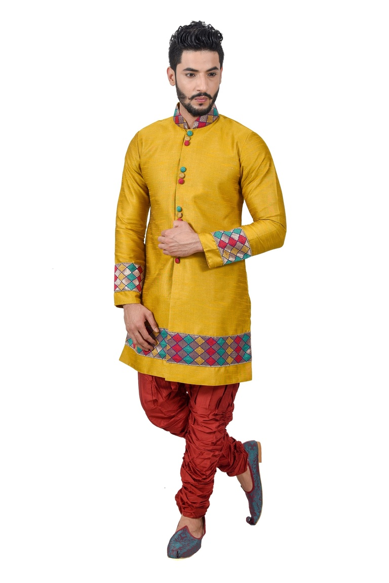 Goldenyellow Artsilk Indowestern Sherwani