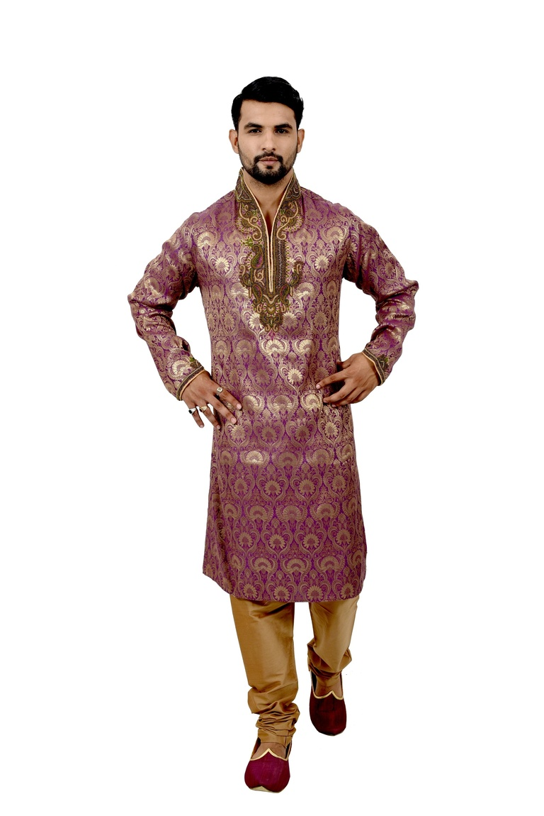 Purple Brocadesilk Kurta Pyjama