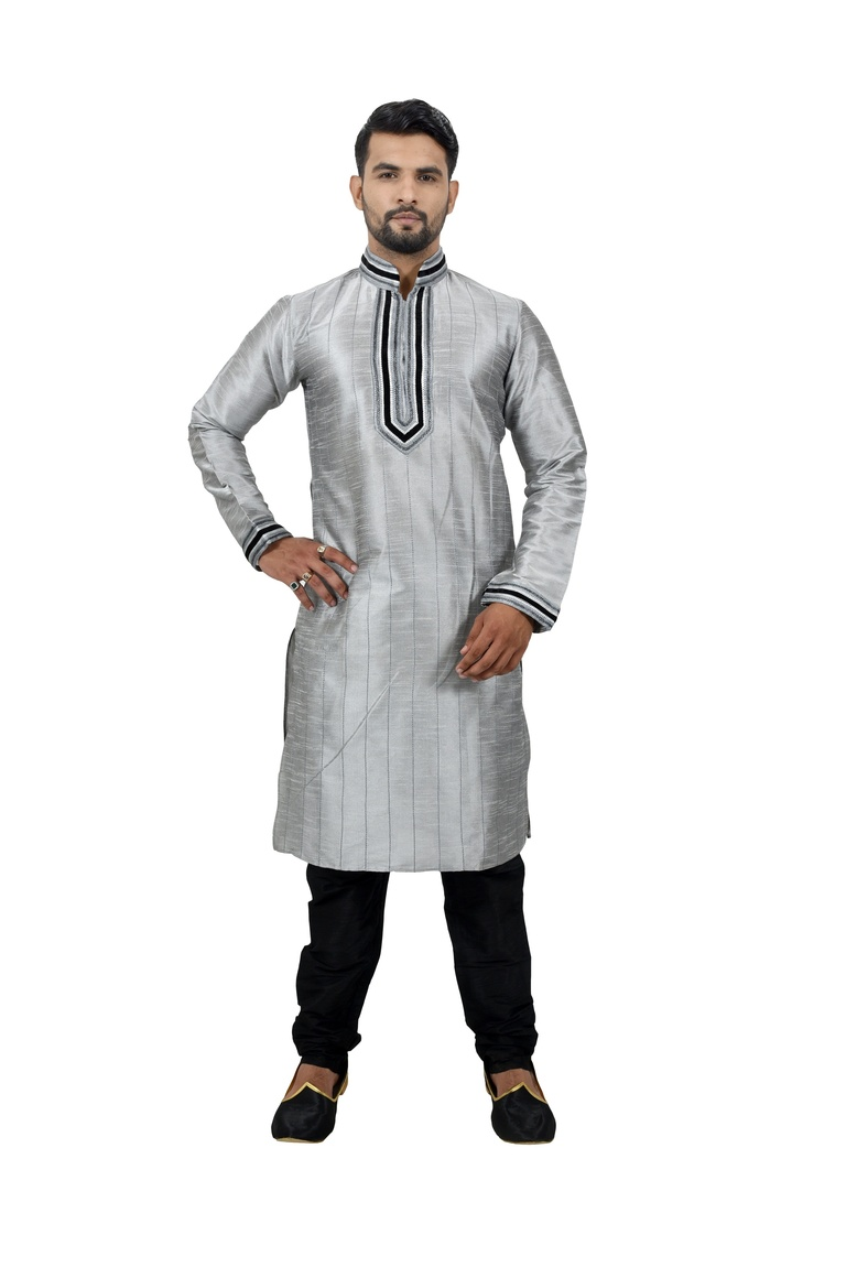 Grey Artsilk Kurta Pyjama