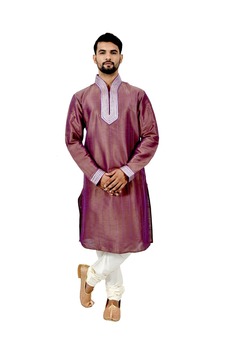 Rosybrown Artsilk Wedding Kurta Pajama